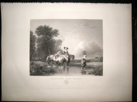 After Callcott C1840 LG Folio Steel Engraving. Returning from Market. Horses